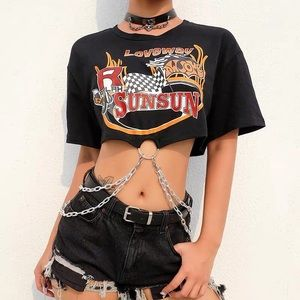 SOLD Edgy graphic black chain crop top S $45